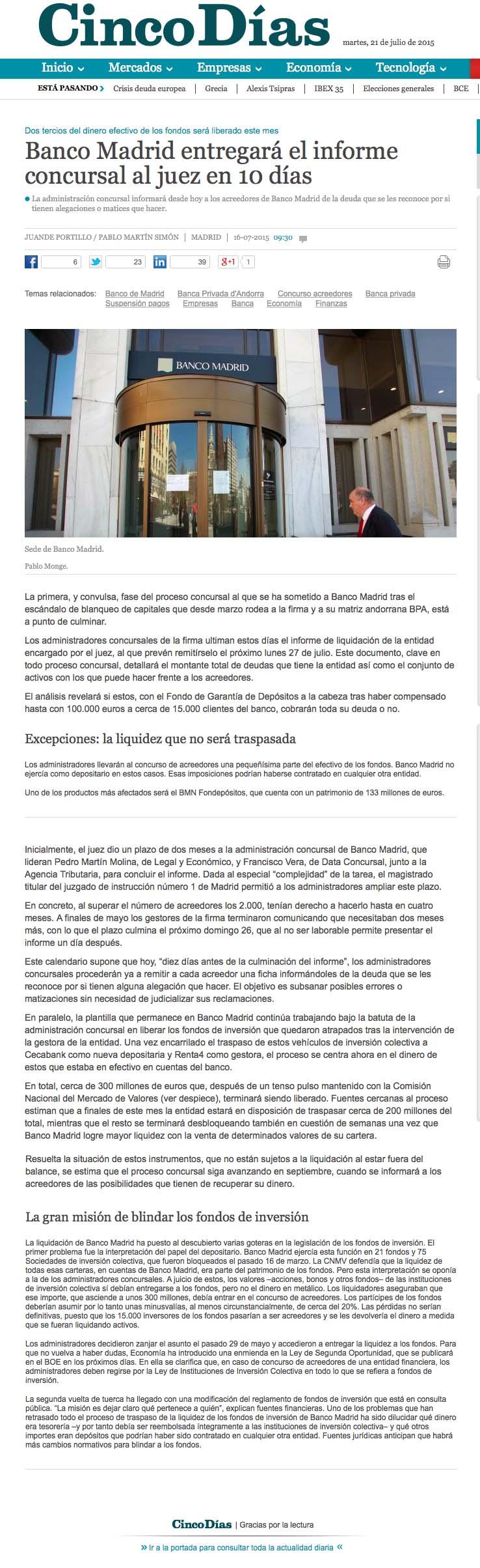 CINCO DIAS BANCO MADRID