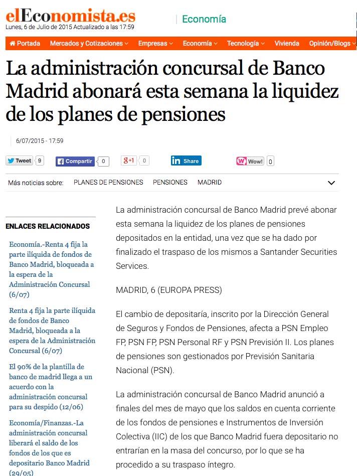 FONDOS BANCO MADRID