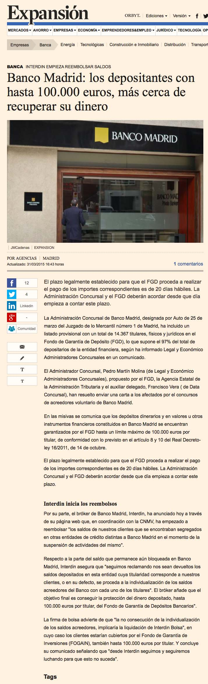 banco madrid expansion