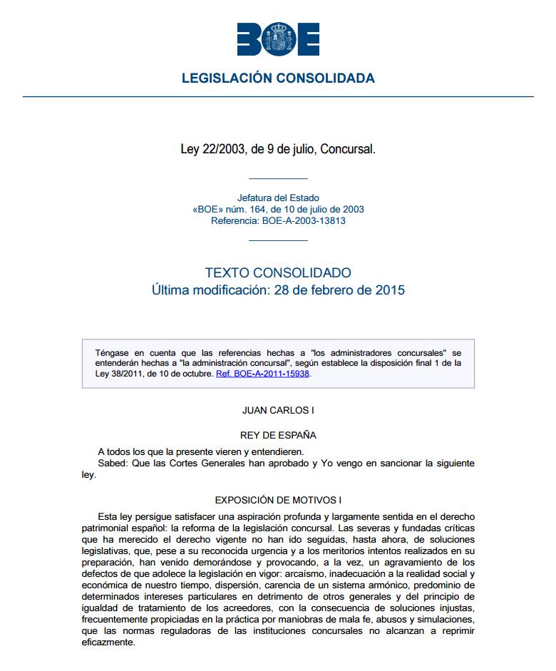 Ley 22/2003 de 9 de julio concursal pdf to excel